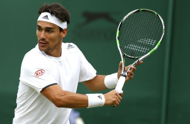 Fabio Fognini of Italy in action during Wimbledon, 2014